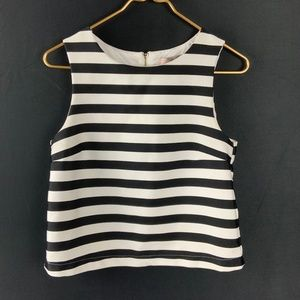 Forever 21 Black White Stripe Boxy Sleeveless Zip